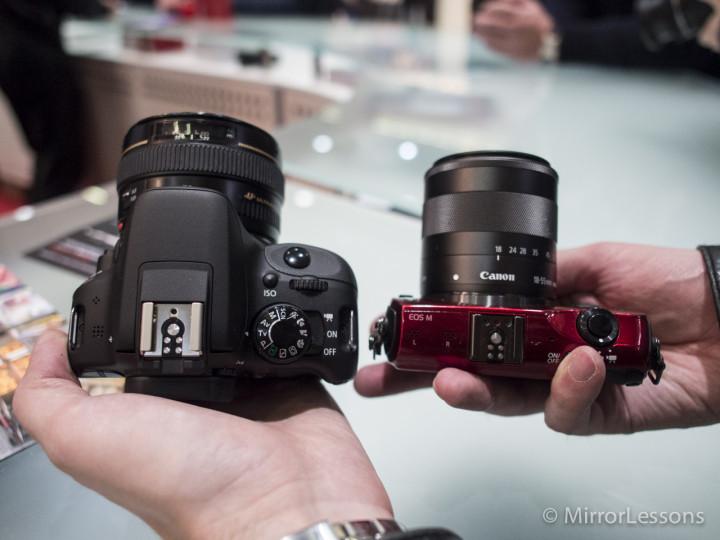 Canon EOS 100D vs EOS M - Top