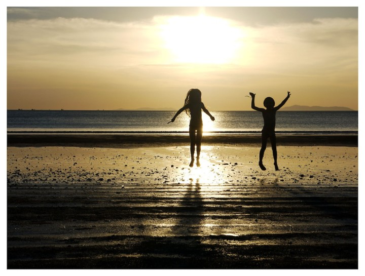 Silhouettes on the beach in Thailand
