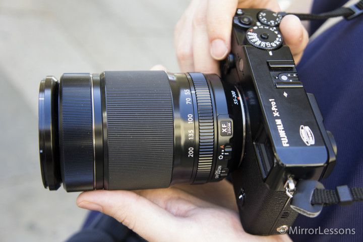 The XF 55-200mm mounted on the X-Pro 1