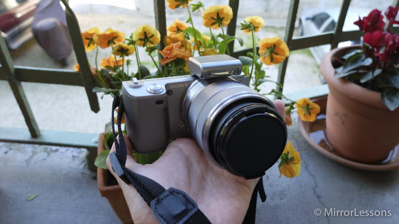 The NEX-5K in amongst the flower pots.