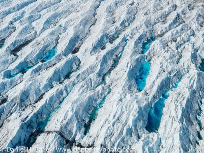 Pools of meltwater on the Knik Glacier. Fuji X20.