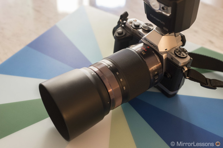 The Lumix 35-100mm f/2.8 mounted on the OM-D E-M5