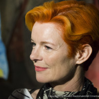 E-M5, 1/100, f/ 2.8, ISO 1600 Sandy Powell, three times accademy award winner for custom design at the opening of the Martin Scorsese exhibition.