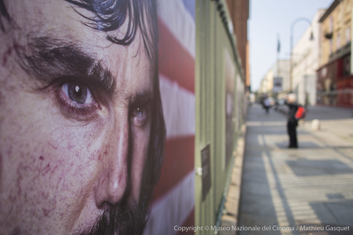 E-M5, 1/2500, f/ 2, ISO 200 M.Zuiko 12mm f/2 A close-up of the intense portrait of Daniel Day_lewis in Gangs of New York outside the Cinema Museum for the Martin Scorsese exhibition.