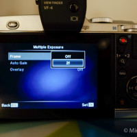 2. In the Multiple Exposure menu, turn Frame from Off to 2f