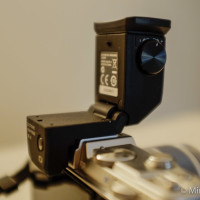 The viewfinder articulated at 90 degrees