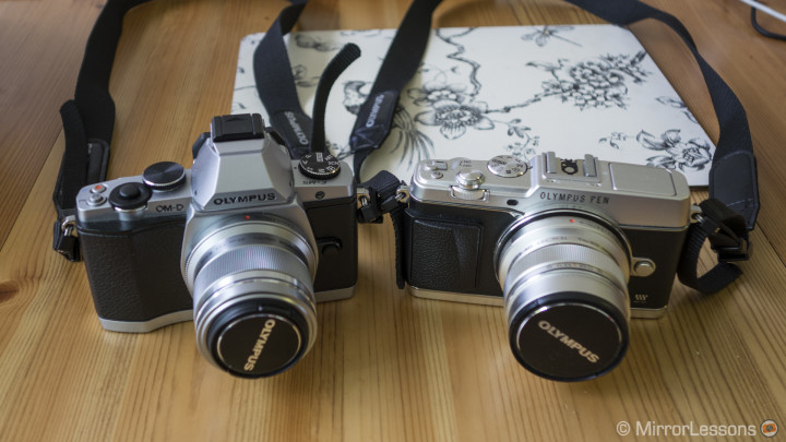 The brothers the E-M5 and E-P5 side-by-side.
