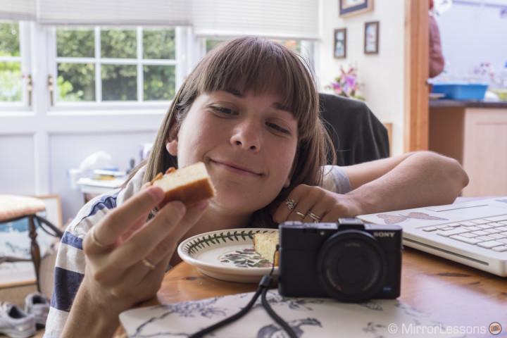 Heather savouring the lemon cake.