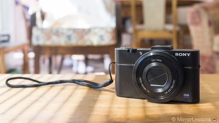 The RX100 II with the supplied hand strap.