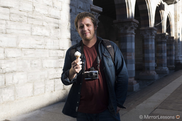 Nick taking a break from shooting for a gelato