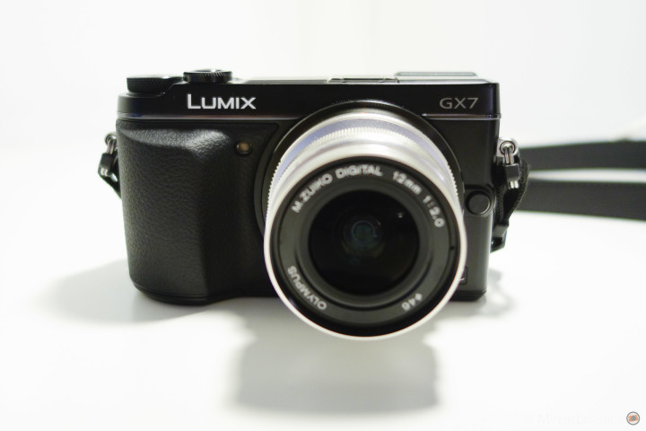Front view with M. Zuiko 12mm attached