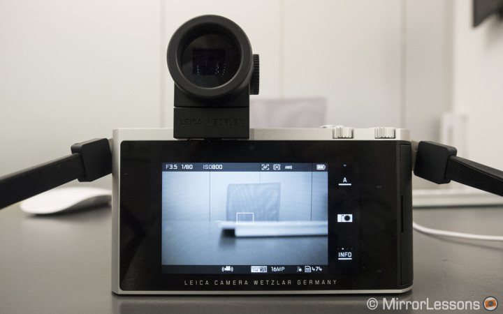 """Rear view with the 3.7"""" touch LCD TFT screen"""