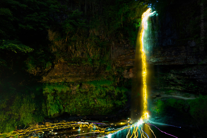 For a feature on BBC1's The One Show we sent adventure presenter Andy Torbet down this 30 metre waterfall, illuminated only by high-luminance glowsticks. My confidence in the A7s is high, so I shot multiple sequential frames at high ISO, to make sure the glowsticks really left their mark in the scene. Even at ISO1600 there's comfortable processing latitude and plenty of opportunity to recover highlights & lift shadows. Sony Zeiss 16-35mm at 24mm. The feature about making this image remains on iPlayer for a few more days (http://www.bbc.co.uk/iplayer/episode/b06157g8/the-one-show-09072015)