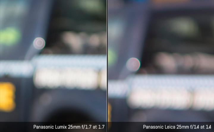 Crop showing bokeh ball at respective fastest apertures