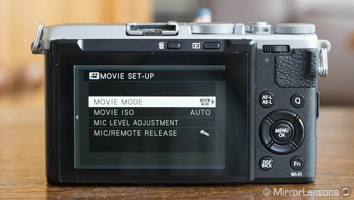 fuji x70 movie menu