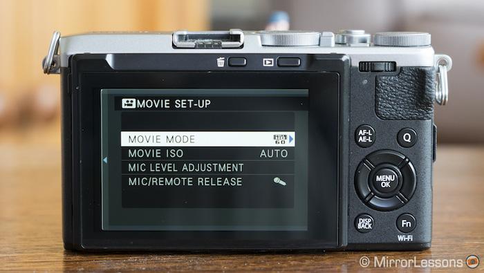 fuji x70 movie menu