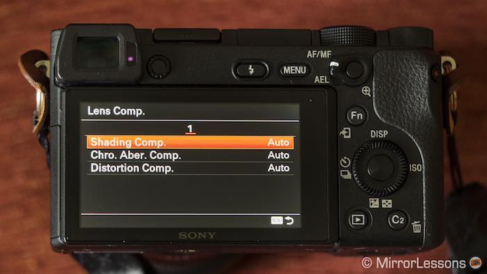 Lens Comp. menu