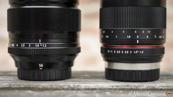 fuji 56mm vs samyang 50mm