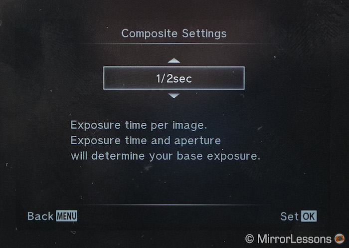 Choose your exposure time